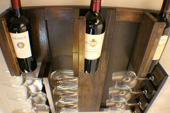 gorgeous kona stained wall mounted wine rack with shelves and. Black Bedroom Furniture Sets. Home Design Ideas