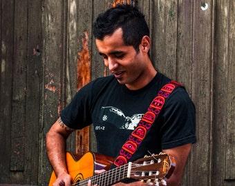 Red guitar strap, Mayan spirits, Leather guitar straps, Unique guitar strap, Gift for him, Gift guitarist - Nahaules Red/Orange NHG1