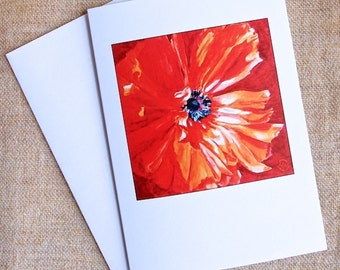 Orange Poppy Card orange flower on rust colored background from my original painting