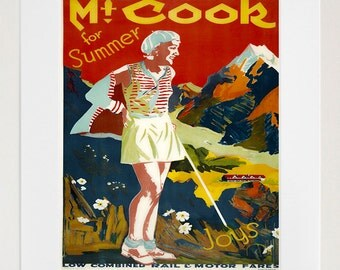 Travel Art Print New Zealand Mt. Cook Advertising Poster (TR30)