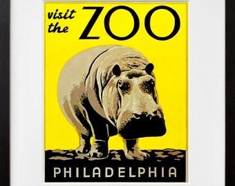 Animal Art Poster Zoo Hippo Print Vintage Home Decor (ZT196)