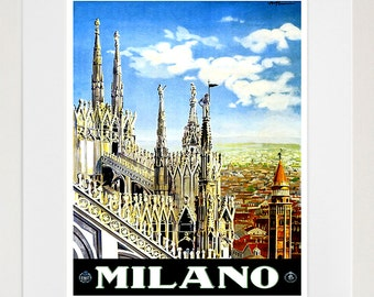 Milan Spain Art Print Travel Poster Spanish Home Decor (ZT339)