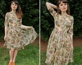 Vintage 1950s Floral Flower Chiffon Party Dress with Bold Rose Print