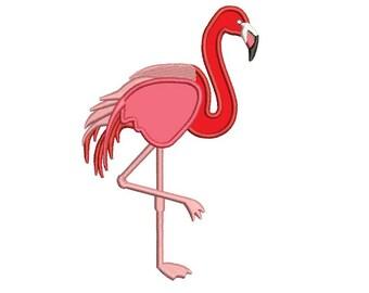 Flamingo Applique Digitized Machine Embroidery Design Pattern - Instant Download - 4x4 , 5x7, 6x10