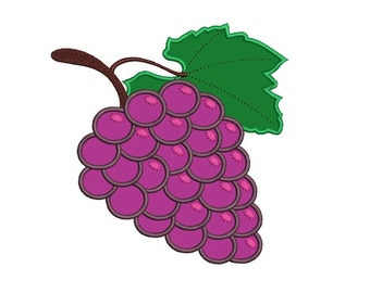Grapes Applique Machine Embroidery Design Digitized Pattern - 4x4 , 5x7, and 6x10 hoops