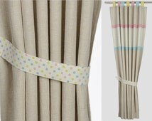 Modern Nursery Pink and Blue Linen and Organic Cotton Blackout Tab Top Window Treatment . CUSTOM SIZES