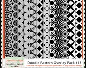 Instant Download - Set of 12 digital paper overlays/templates - Doodle patterns overlay set 13 - CU4CU ok