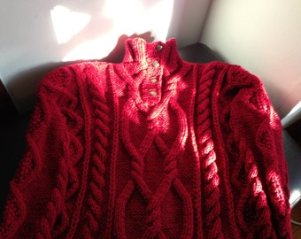 Red mens cabled sweater
