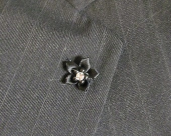 Small Men's Lapel Pin Flower - Black with Bead and Crystal Center