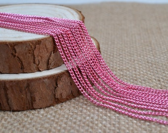 16ft of 2.7x2mm Oval Link Pink Cable Chain,Iron Cross Chain,Pink Small Chains,Open Link Twisted Chains-Uonnsoldered,Nickel and Lead Free