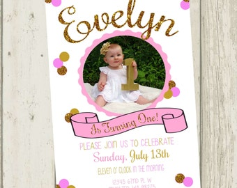 Pink & Gold Birthday Party Invitation, First Birthday Invitation, First Birthday Party Invite, Pink and Gold Glitter, Photo Invitation