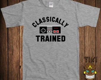 Funny Video Game T-shirt Gamer Nerd Geek Tshirt Tee Shirt Classically Trained Controller Retro Old School College Humor Cool Hipster