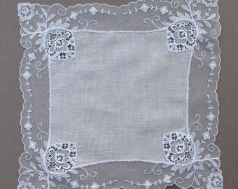 Vintage Linen and Lace Bridal Wedding Handkerchief Hanky
