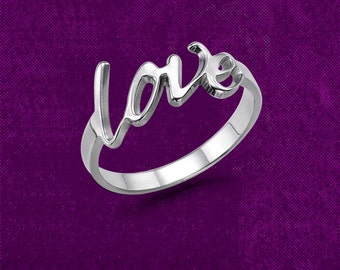 Love Script Ring / love ring, love letter ring, couple ring, friendship ring, best friend ring, cute ring, Valentines Day