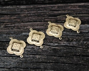 Brass Quatrefoil Clover Pendants Connectors, Made in the USA