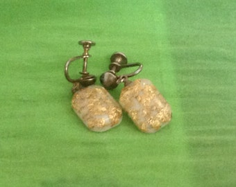 Vintage Retro Resin Gold Earrings