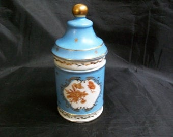 French Unmark covered trinket pin box gold decor Beautiful