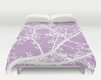 Magnolia Tree Branches Duvet Cover - Lavender Purple and White - Modern Bedding - Queen Size Duvet Cover - King Size Duvet Cover