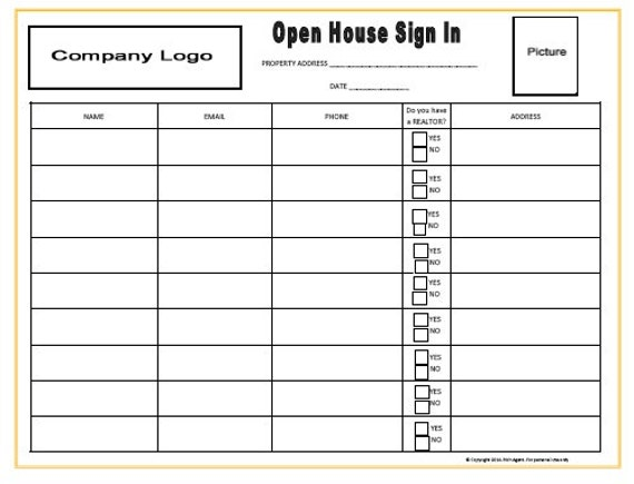 open house sign in sheets