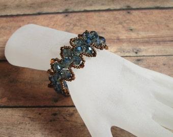 Cobalt Blue Beaded Bracelet, Antique Gold and Blue Beaded Bracelet, Vintage Jewelry, Statement Jewelry, Dragon Fly Jewelry, Handmade jewelry