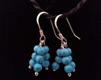 Triple beaded GENUINE TURQUOISE dangle earrings