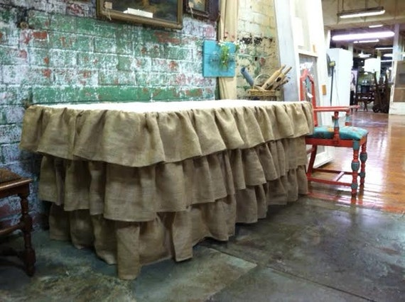 Attractive Ruffled Burlap Tablecloth With Muslin Top And Underskirt Fits