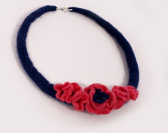 Felted Pink Flower Necklace Navy Blue, floral necklace, wool, merino, unique gift for her