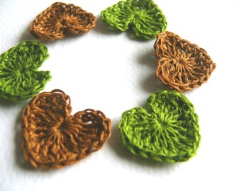 Crochet hearts applique, 30 mini hearts, embellishments, Valentines, small wedding favor, scrapbooking,wedding decorations, cards, gift idea