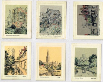 British Cigarette Complete Card Set (25 Cards) - Picturesque Odl England. Issued in 1931 by De Reske Cigarettes. Etchings by H.Radcliffe
