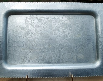 "1950''s ""Designed Aluminum"" square shaped serving tray.  14.5"" by 9.5"""