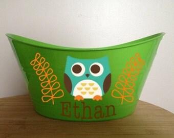 Personalized Boy Owl Storage Tub