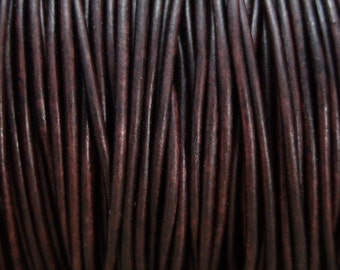 2mm Antique Brown Leather Cord 10 Yards Distressed Dark Brown