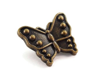 Butterfly Metal Buttons 1 inch 25mm Antique Brass Bronze Qty 3