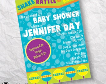 PRINTABLE Shake Rattle and Roll Baby Shower Invitation