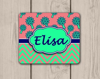 Coral Mint Tree Personalized Mouse Pad
