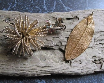 Gold Tone Pins and Pendant Lot Rickshaw, Leaf, Twisted Rope