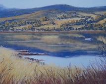 Fine art print from original pastel painting.  River reflections print . Open edition print. Landscape print.