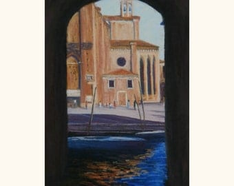 Vibrant pastel painting on sanded paper. Impressionist Venice canal and boat. Colourful reflections.