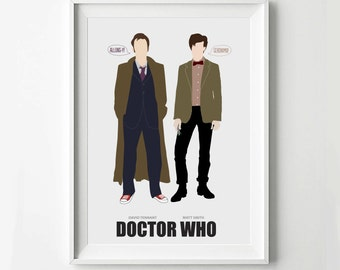 Doctor Who Poster Tenth and Eleventh Doctors - Minimalist Print, Digital Art Print, TV Poster
