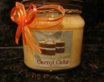 Carrot Cake 100% Soy Candle Homemade Highly Scented in a Decorated 8oz Mason Jar Hand Poured