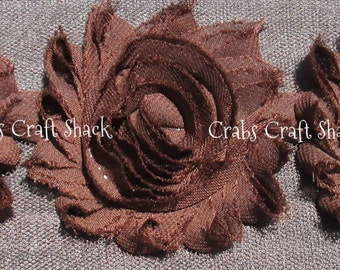 Shabby Flowers - Brown / Chocolate, Half Yard (7 Flowers), Dark Brown Shabby Flowers, Brown Chiffon Flowers, Brown Shabbies