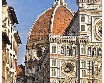 Florence Italy Photography, outside the Duomo in Florence, Duomo painted by Brunelleschi
