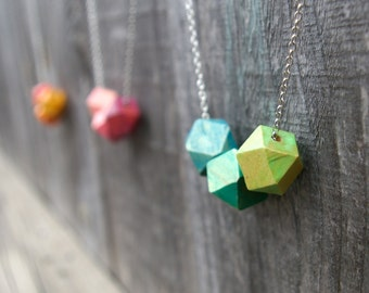 Geometric Jewelry - Geometric Necklace - Wooden Geometric Beads - Geometric Beads - Ombré Jewelry
