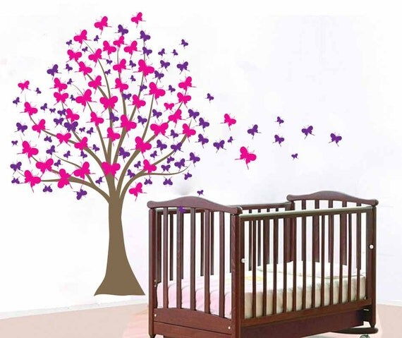 Custom designed large cherry blossom tree wall decal this wall decal - Large Wall Tree Baby Nursery Decal Butterfly Cherry Blossom
