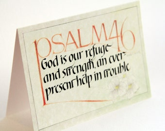 Christian Hand Drawn Greeting Card with Scripture Calligraphy: Psalm 46