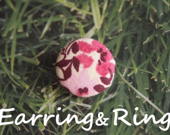 Cream, purple, and pink flower fabric covered button earrings, fabric covered button clip on earrings, fabric covered button ring