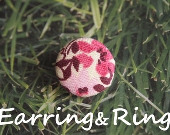 Cream, purple, and pink flower fabric covered button earrings / fabric covered button clip on earrings / fabric covered button ring