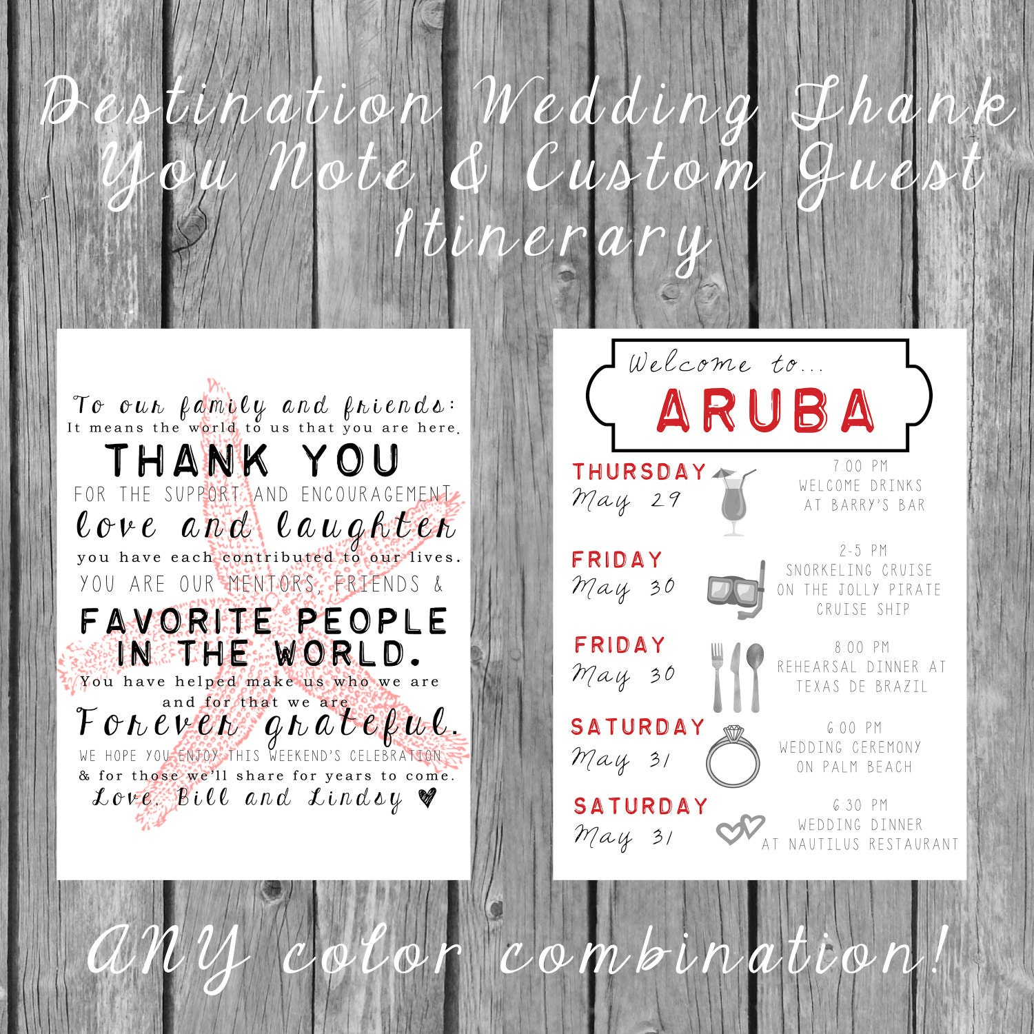 Destination Wedding Welcome Bag Letters AND Guest Itinerary Timeline Of Events