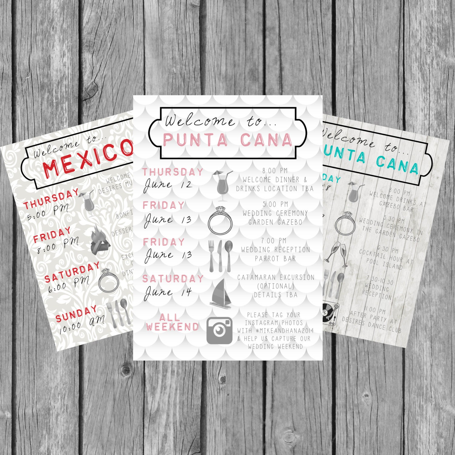 Destination Wedding Welcome Bag Guest Itinerary / Timeline of