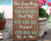 Our Love Story Wedding Date Sign / Painted Wood Sign for Wedding or Bridal Shower Gift
